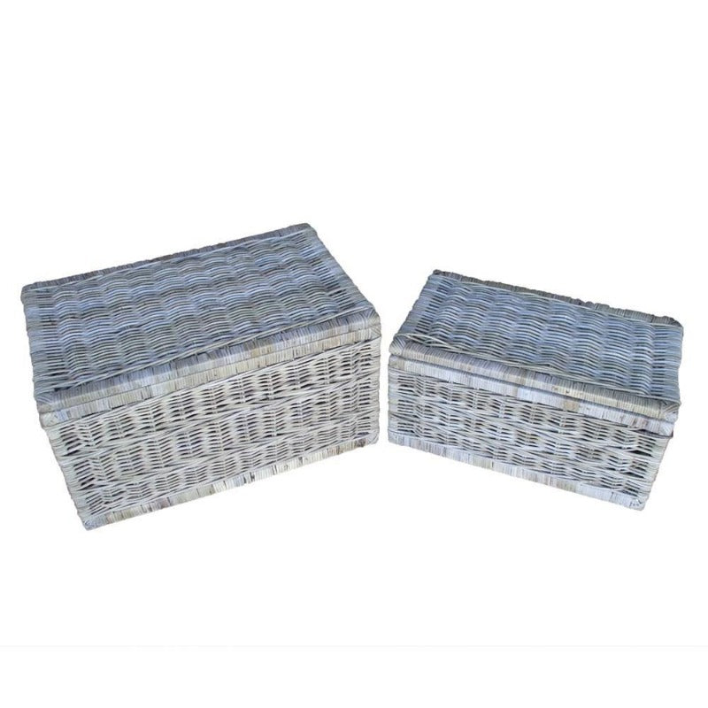 Cane lidded chest set of 2-Grey colour - WORLD OF DECOR