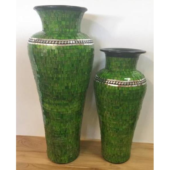 STUNNING GREEN MOSAIC FLOOR STANDING VASE WITH MIRROR INLAY 6 COLOURS AVAILABLE. WHY PAY OVER $300.00, LOOK NO FURTHER. - WORLD OF DECOR