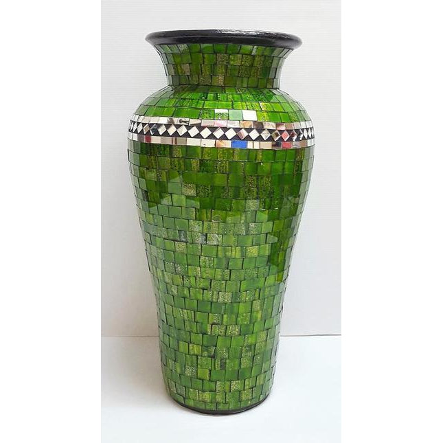 MOSAIC MIRRORED INLAY VASE LIME - WORLD OF DECOR