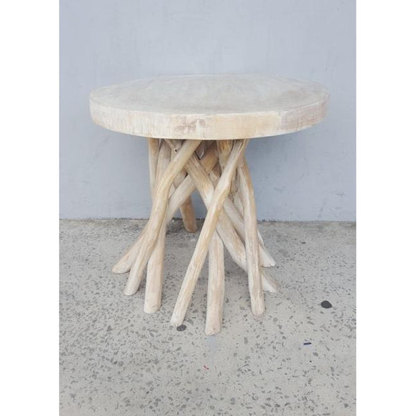 Rustic side table-whitewash - WORLD OF DECOR