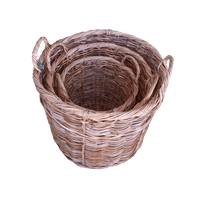 Round wood/log basket - WORLD OF DECOR
