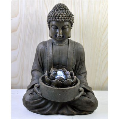 Buddha with Lotus Flower Water Fountain Led light - WORLD OF DECOR