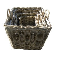 Cane square wood/log basket-4 size to choose - WORLD OF DECOR