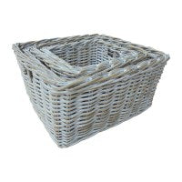 RECTANGULAR STORAGE BASKET DEEP-WHITE WASH - WORLD OF DECOR