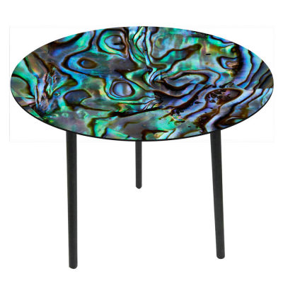 Glass top side tables-Paua