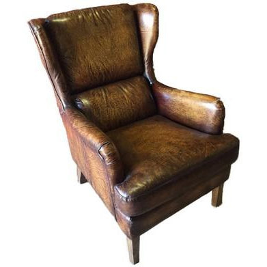 SADDLEBACK SALOON CHAIR WORN BROWN LEATHER CHAIR - WORLD OF DECOR
