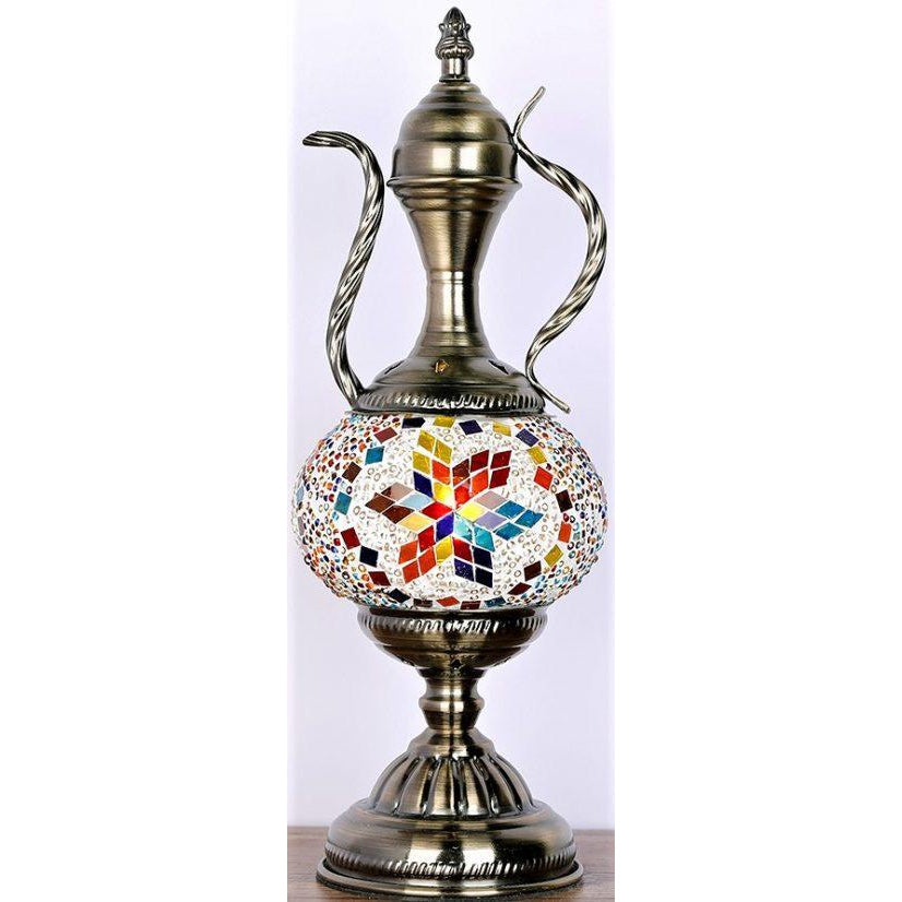 Turkish Mosaic Electric Lamp Teapot shaped - WORLD OF DECOR
