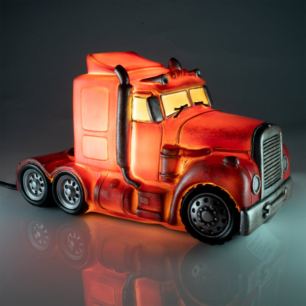 Red Metal Look Truck Table Lamp
