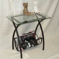 Glass side table/magazine rack table