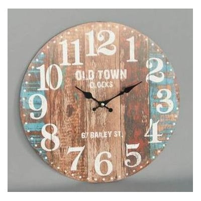 Old Town Colored Board Washed Clock