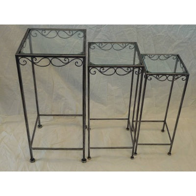 Glass square planter stand set of 3 - WORLD OF DECOR