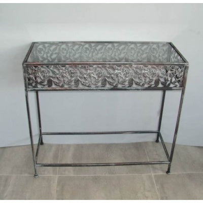 Glass leaf Rectangle hall table - WORLD OF DECOR