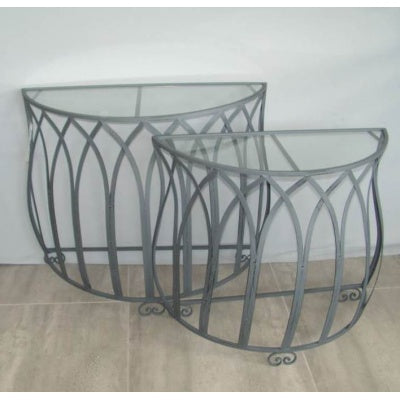 Glass hall table 1/2 round. - WORLD OF DECOR