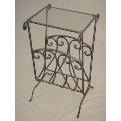 Glass side table/magazine rack table - WORLD OF DECOR