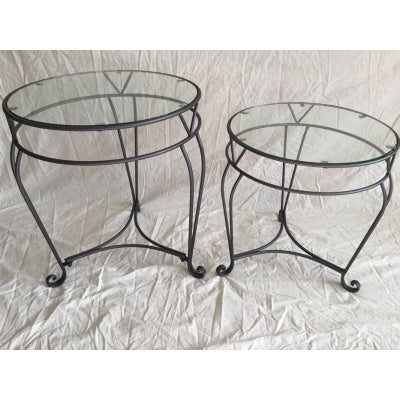 Glass round side table set of 2 - WORLD OF DECOR