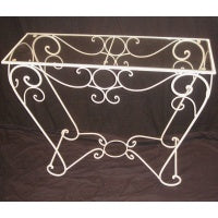 Glass Rectangle hall table-Cream - WORLD OF DECOR