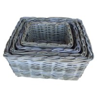 RECTANGULAR STORAGE BASKET-WHITE WASH - WORLD OF DECOR
