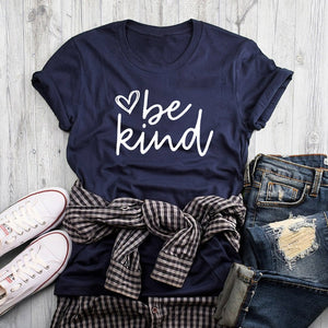 Be Kind Heart Printed Short Sleve T-shirt