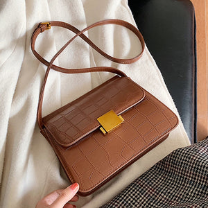 Stone Pattern Vintage Lock Luxury Crossbody Bag