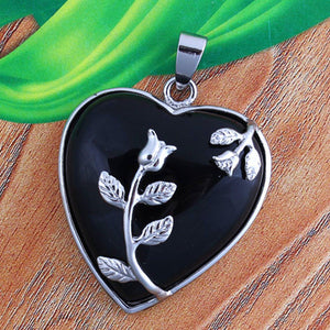Natural Stone Heart Pendant with Inlay Leaf Flower