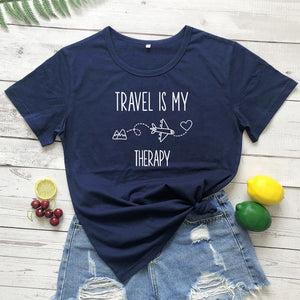 """Travel Is My Therapy"" Casual Unisex Summer Printed T-shirt"