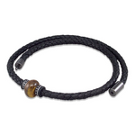 Nappa leather necklace with tigers eye gemstone