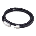 Nappa leather double wrap black bracelet