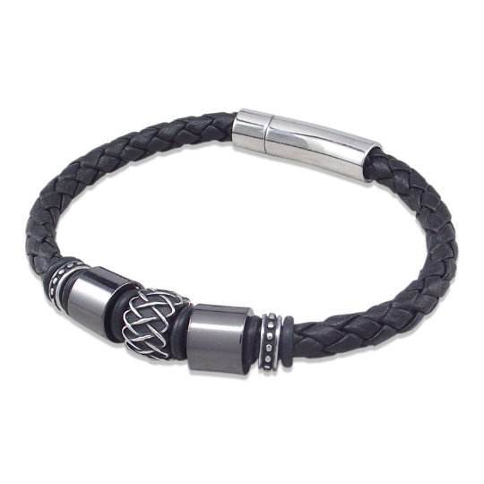 Nappa leather bracelet with retro & gunmetal stainless steel beads
