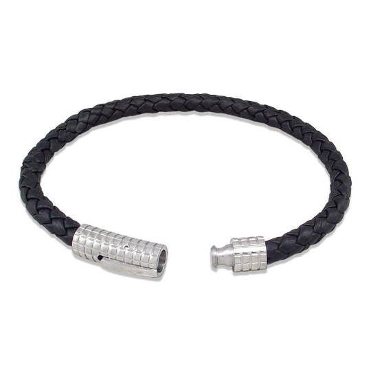 Nappa leather bracelet with stainless steel stripe clasp