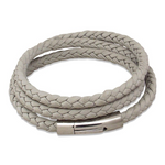 Nappa leather triple wrap grey bracelet & stainless steel clasp