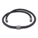 Nappa leather black necklace with steel bead
