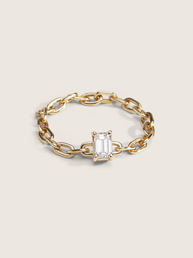 Doublemoss Jewelry 14K Gold Chain Ring with Brilliant Diamond