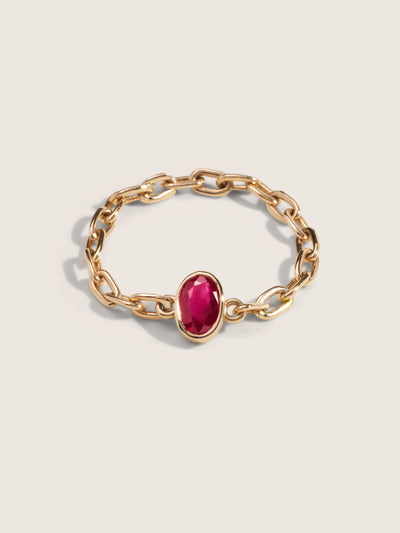 Doublemoss Jewelry 14k Gold Chain Ring with Natural Red Ruby
