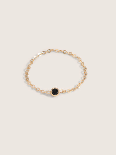Doublemoss Jewelry Clair De Lune 14k Gold Chain Ring w/ Black Diamond Gemstone