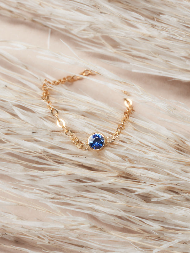 Doublemoss Jewelry 14k Gold Dainty Chain Ring with Sapphire Gem