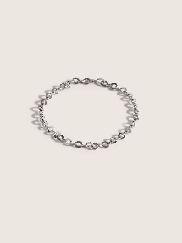 Doublemoss Jewelry 14k White Gold Dainty Chain Ring