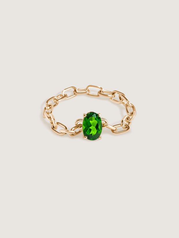 Catena Chain Ring with Chrome Diopside Gemstone