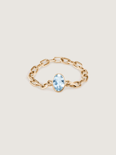 Doublemoss Catena Chain ring with aquamarine gemstone now available in 14k Yellow, White & Rose Gold