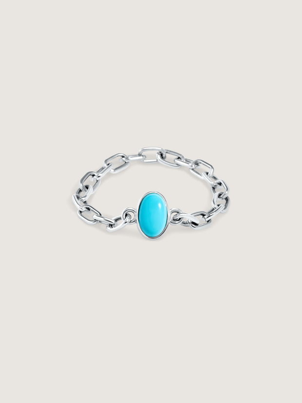 Doublemoss Catena chain ring in 14k gold with turquoise gemstone. Available in 14k Yellow, White, & Rose Gold.