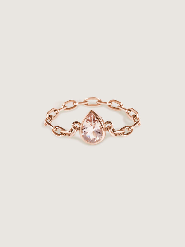 Catena Chain Ring w Morganite Gemstone