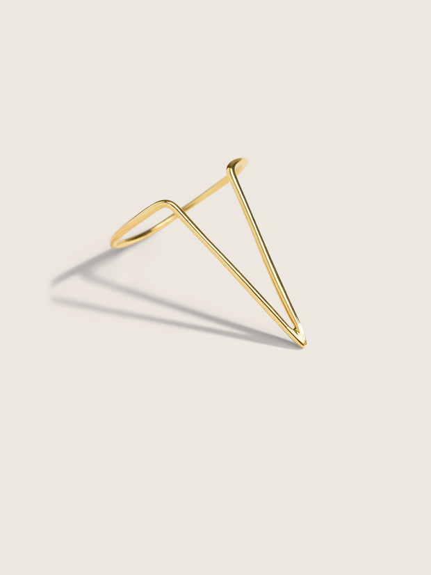 Doublemoss Jewelry Femme Ring 14k Gold Triangle Shaped Ring designed to symbolize woman empowerment