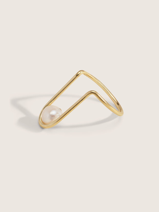Doublemoss Jewelry 14k Gold La Perla Ring with Freshwater Pearl. Wear it as nail art or a regular ring.