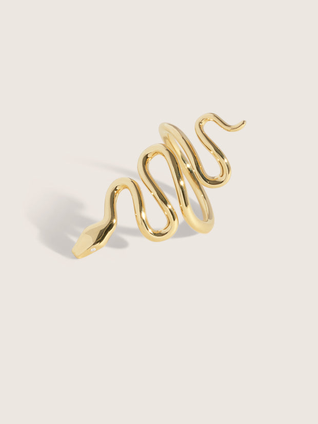 Doublemoss Jewelry 14k Gold Snake Ring with Diamond Eyes