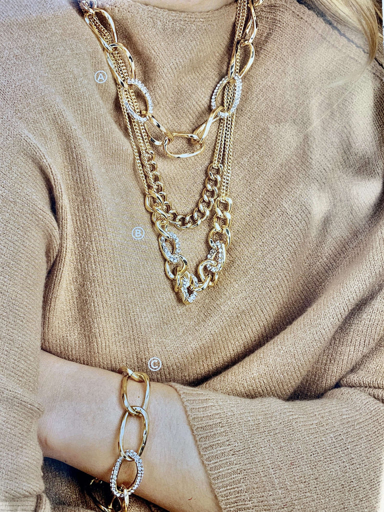 Jewelry - Gold Open Link Necklaces And Bracelet - 3 Styles