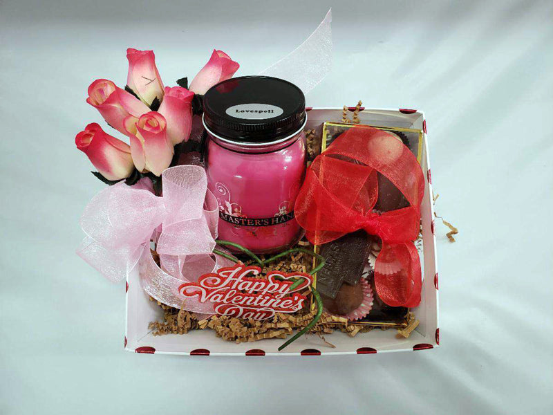 Valentine's Candle Personalized Gift Basket