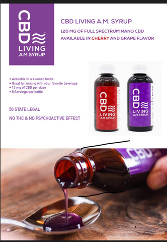 Living CBD Day Syrup 120 mg Cherry or Grape Flavor