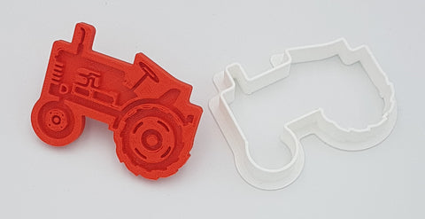 Antique Tractor Design Cookie Cutter and Fondant Stamp Set