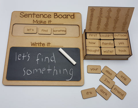 Wooden Word Tile Set (101-200) and Wooden Sentence Board combination pack