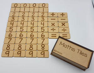Wooden Maths Tile Set with storage box