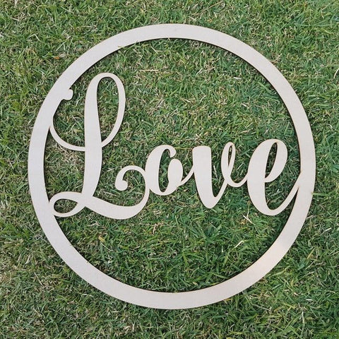 """Love"" large wooden sign"